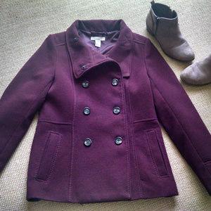 H & M Burgundy Pea Coat  Size 10